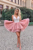 Cute A Line Spaghetti Straps Pink Short Homecoming Dresses M748