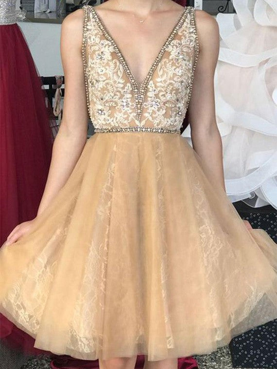 A Line Deep V Neck Beading Short Homecoming Dresses with Appliques M744