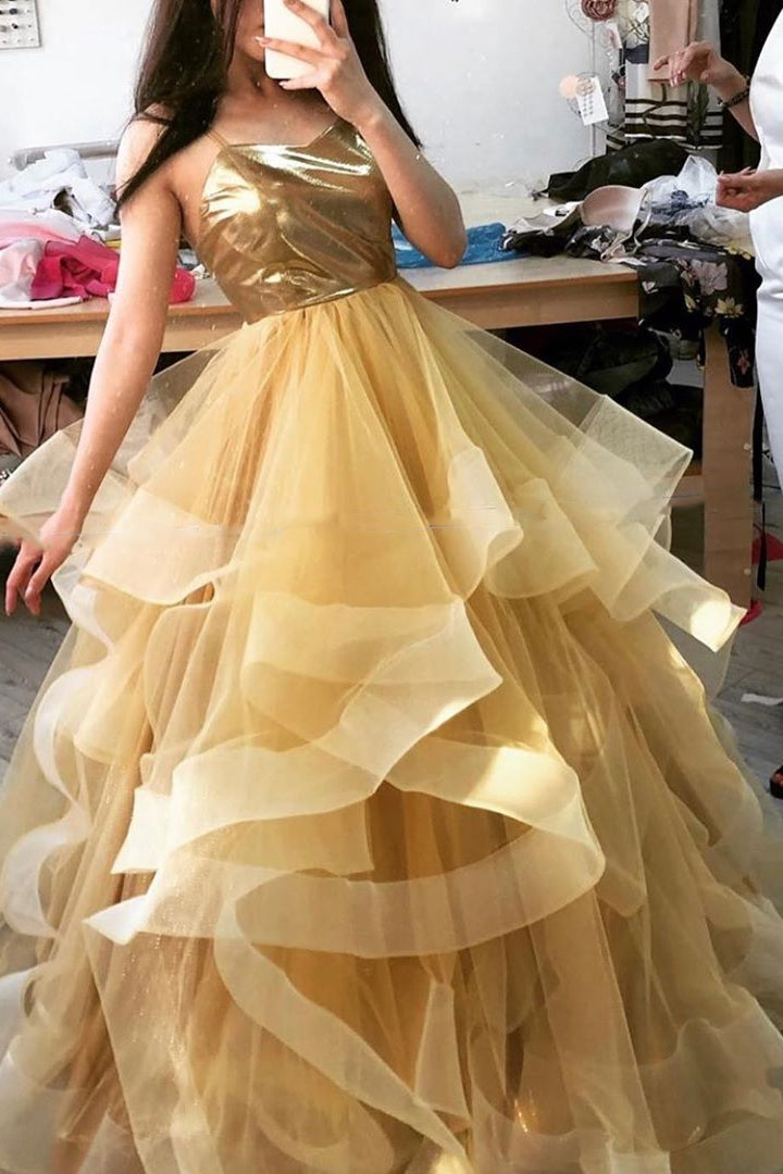 Spaghetti-straps Gold Long Prom Dress, Sweet 16 Dance Dress D420