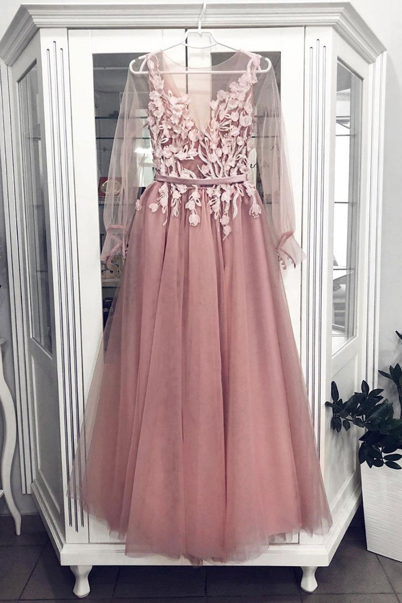 Sheer Neckline Long Sleeves Tulle Appliques Long Prom Dress D423