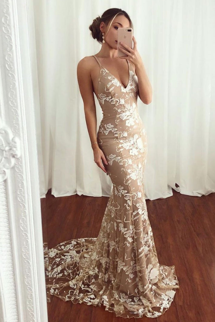 V-neck Lace Mermaid Long Prom Dress, Spaghetti Staps Backless Evening Dress D422