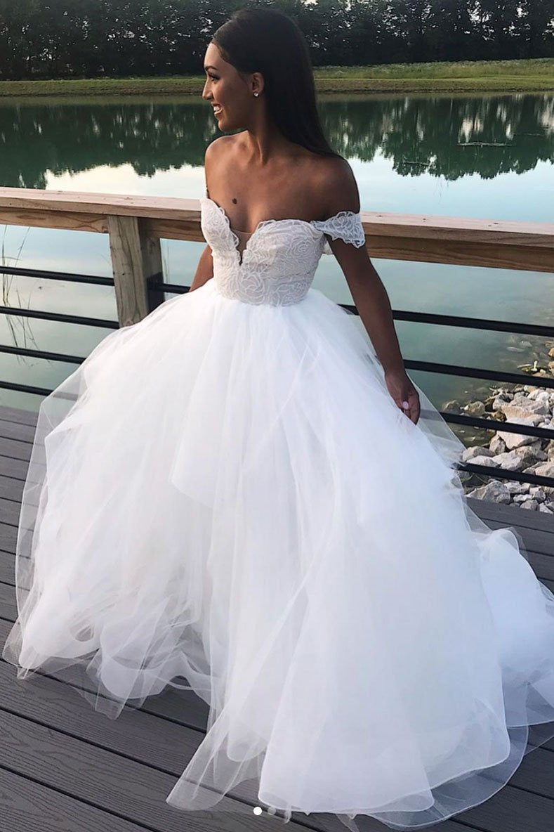 A-line Tulle White Long Prom Dress, Off-Shoulder Wedding Dress D421