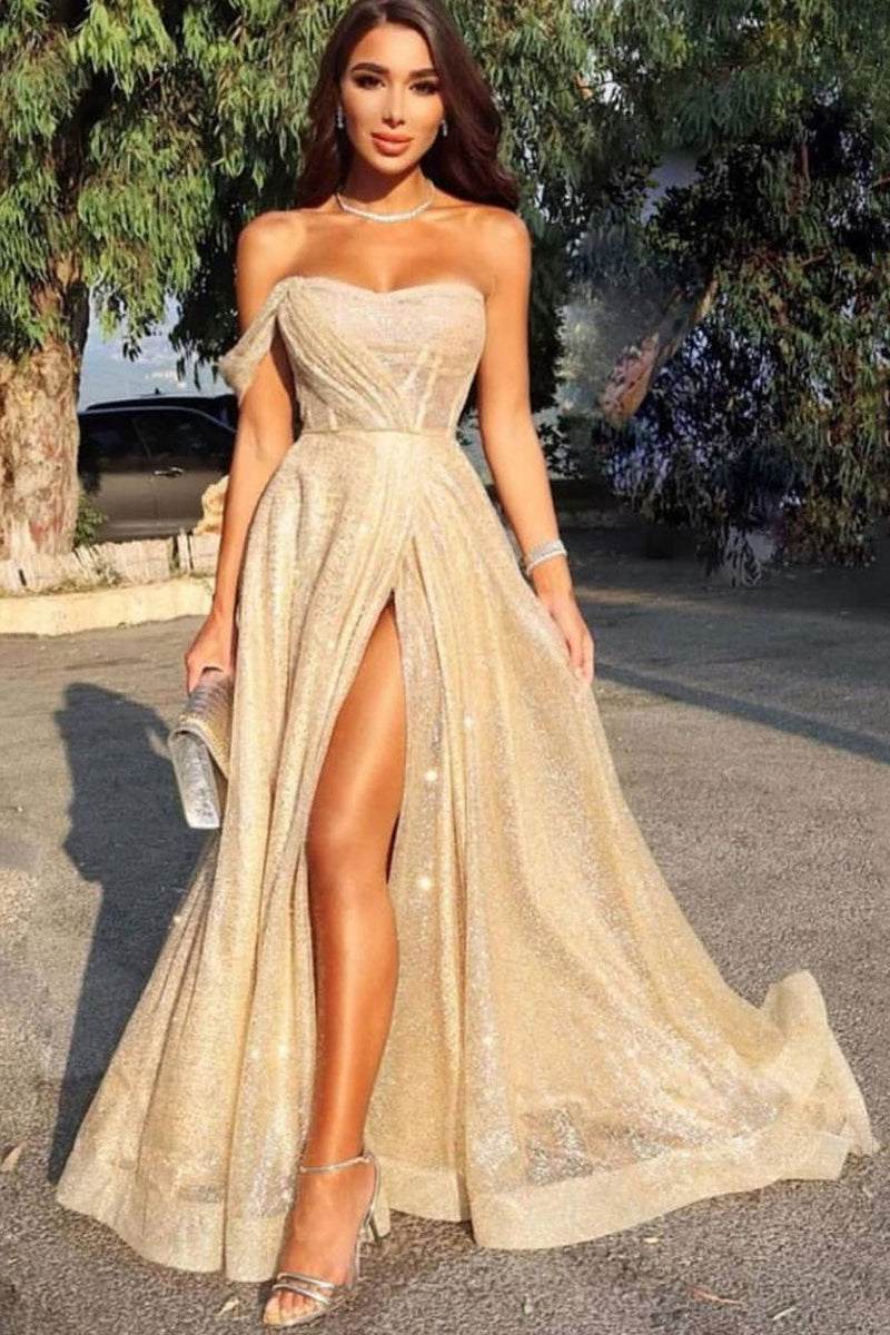 Sparkly Split Long Prom Dress, Sexy Sequins Formal Evening Dress D424