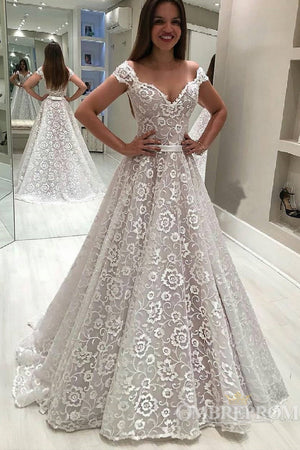 Off Shoulder V Neck Lace Wedding Dress with Appliques Birdal Dress W566