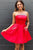 Strapless Fuchsia Homecoming Dress, Short Prom Dress With Beading Pockets M811