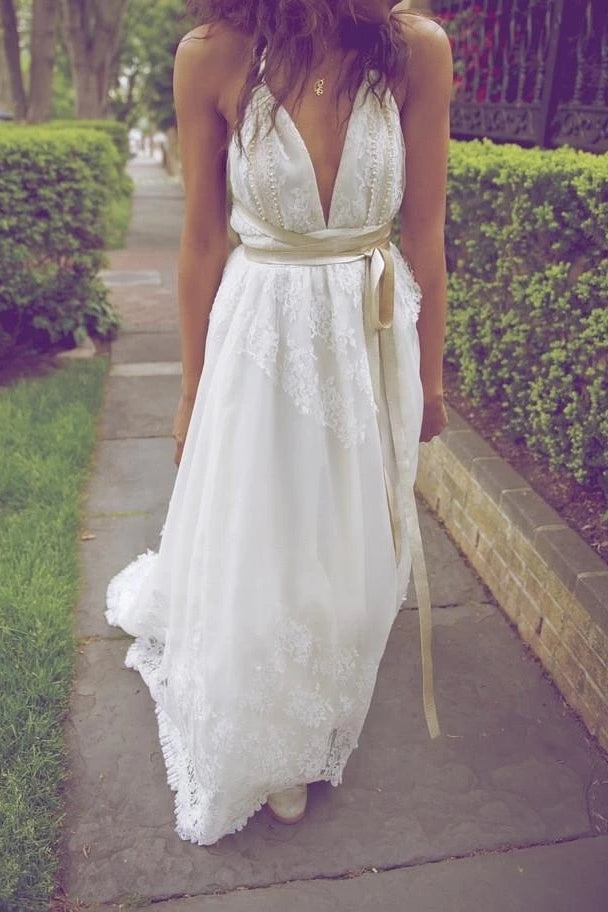 A Line V Neck Beach Wedding Dresses Chiffon Lace Backless Bridal Dress W828