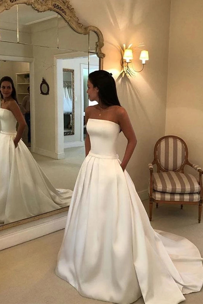Simple Strapless Sleeveless Wedding Dresses, Satin Bridal Dress with Pockets W827