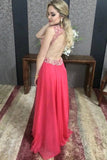 V-Neck Chiffon Long Prom Dress With Beaded, A-line Evening Dress D464