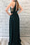Halter Dark Green Chiffon Long Prom Dress With Beading, Split Keyhole Formal Evening Dress D465