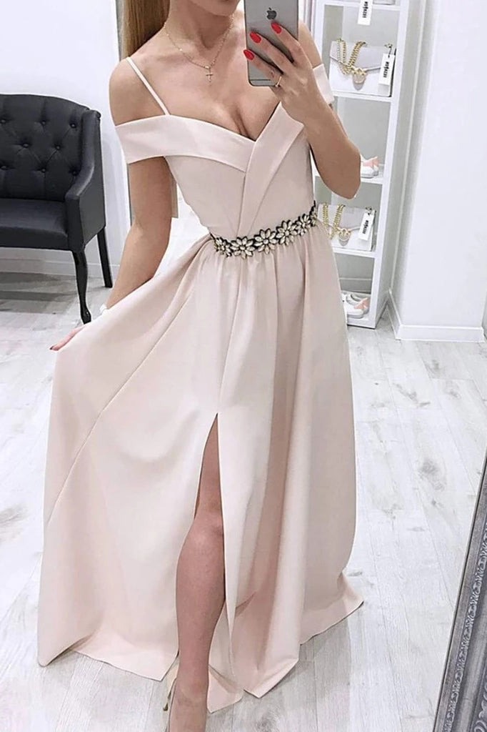 Off The Shoulder Long Evening Dress, Long Prom Dress With Side Split D466