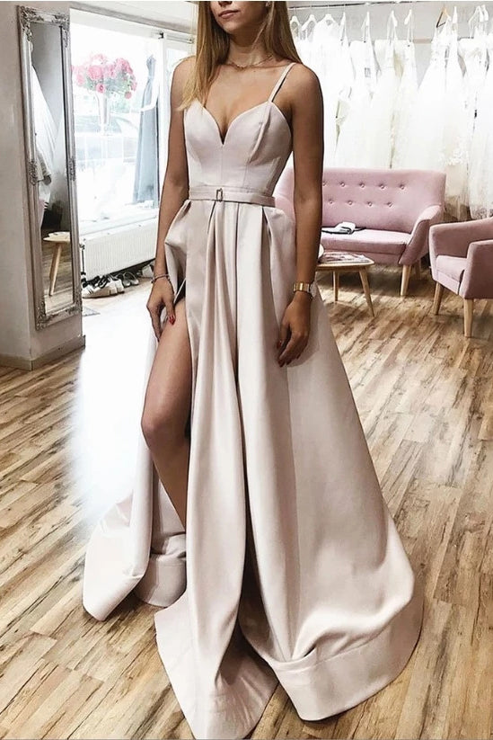 Simple Long Prom Dresses With Split, A-line Spaghetti Long Formal Dress D467