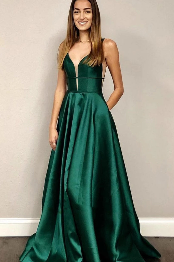 A-line V Neck Emerald Green Prom Dresses, Graduation Dresses With Pockets D468