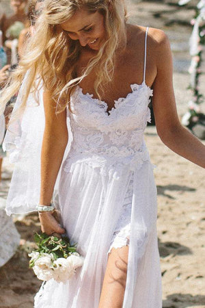 Charming Spaghetti Straps Lace Ivory Simple Beach Sleeveless Bridal Gown W303 - Ombreprom
