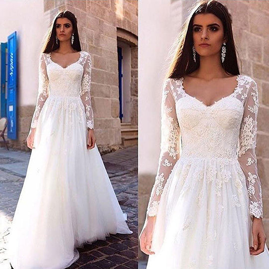 Gorgeous Floor Length Long Sleeve Lace A-Line Wedding Dress W298