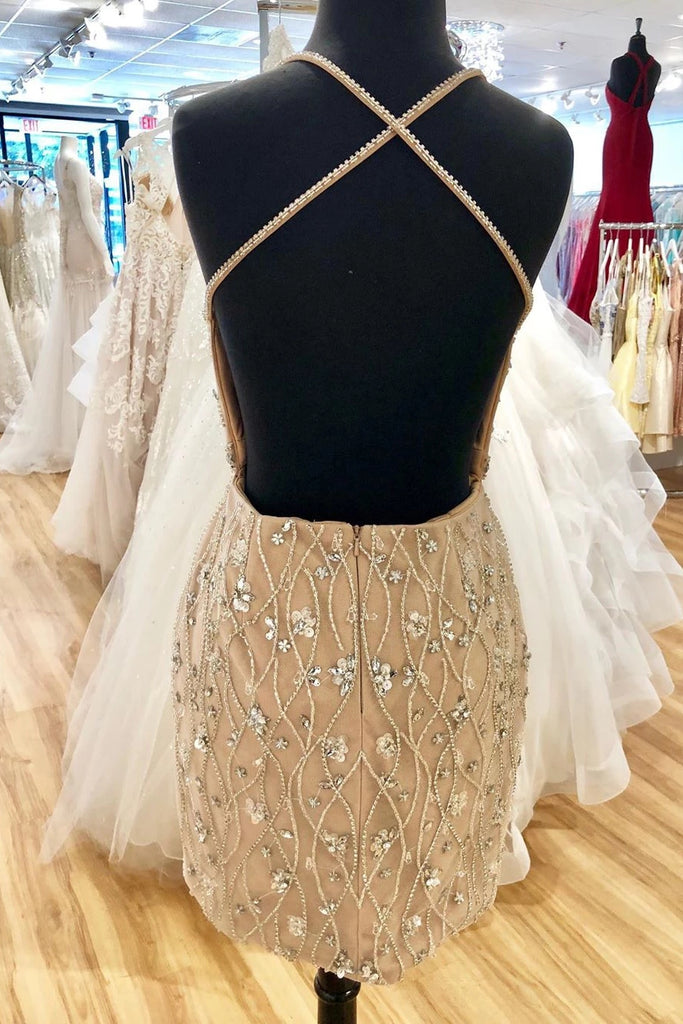 Stunning Bodycon Short Prom Dress Backless Beading Homecoming Dress M808