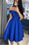 Off Shoulder Royal Blue Short Prom Dress Satin Homecoming Dress D463