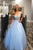 A-line V-neck Beading Light Sky Blue Long Prom Dresses D461