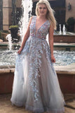 A-line Floral Appliques Long Prom Dress Plunging Neckline Formal Gown D462