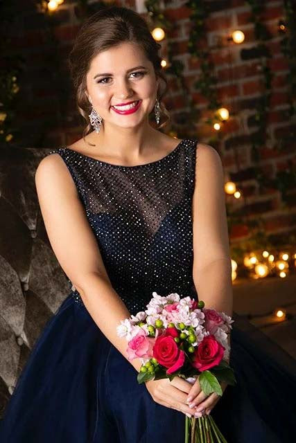 Dark Navy Prom Dresses A-line Round Neck Graduation Dress With Beading D460
