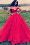 Simple Strapless Ball Gown Prom Dress Red Quinceanera Dresses D395