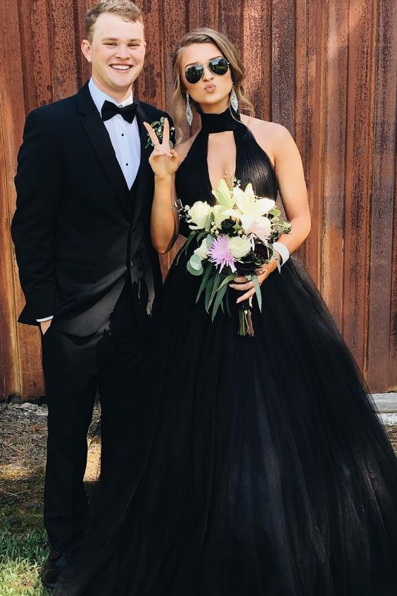 Ball Gown High Neck Black Long Prom Dresses Keyhole Formal Dress D405