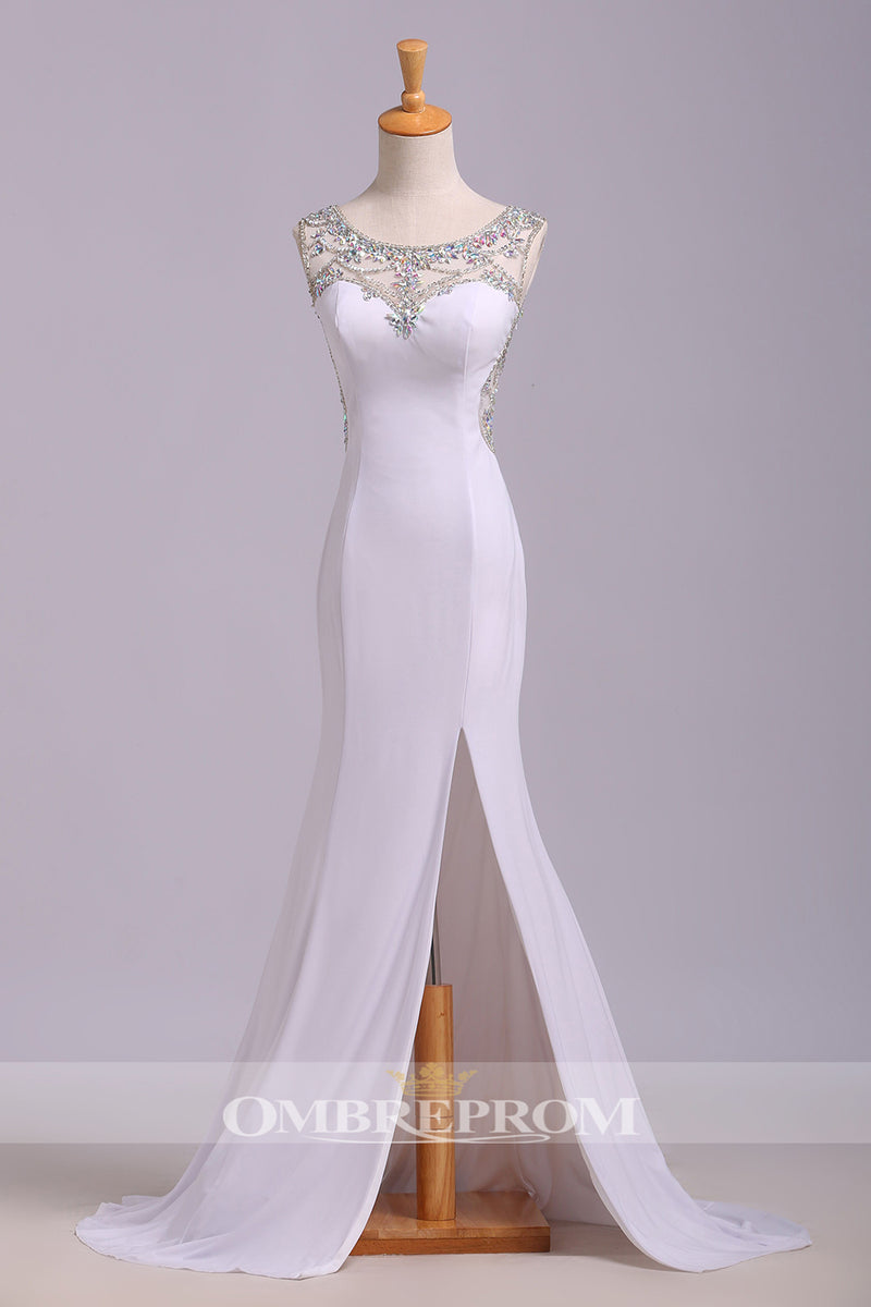 Gorgeous Round Neck Sleeveless With Beading With Split Floor Length Prom Dress P766
