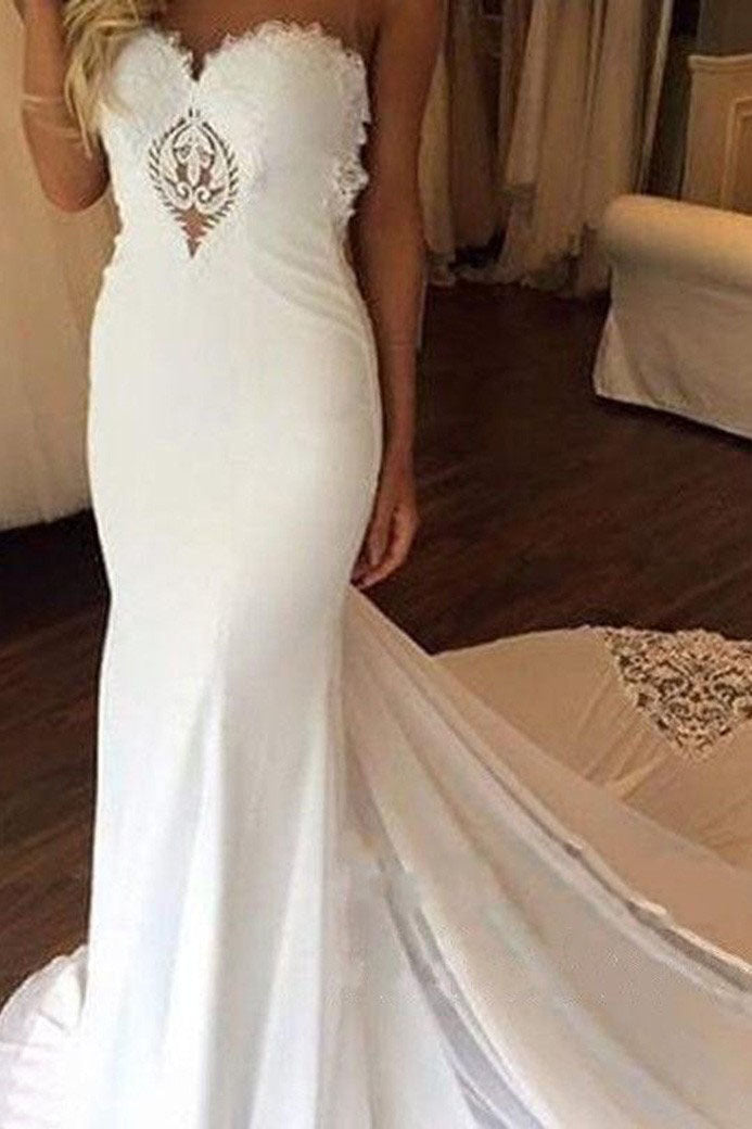 Simple Mermaid Open Back Sleeveless Wedding Dress Chapel Train W490