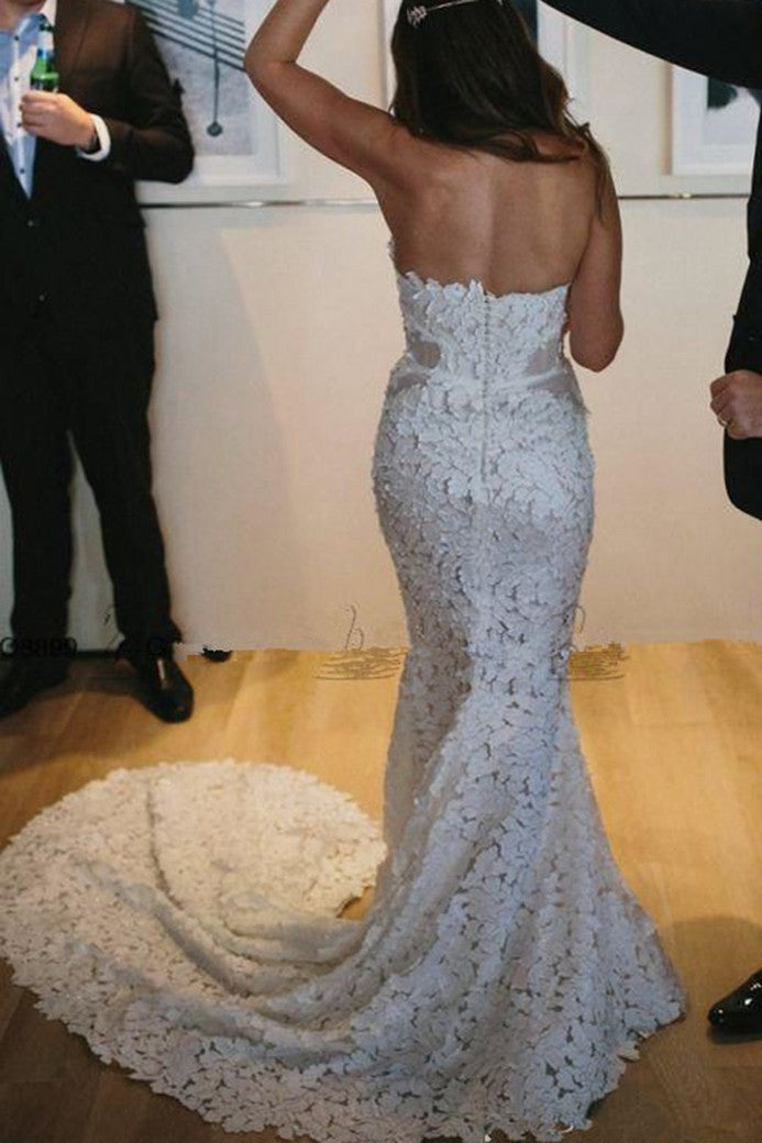 Mermaid Sweetheart Lace Appliques Strapless Wedding Dress with Split Side W481