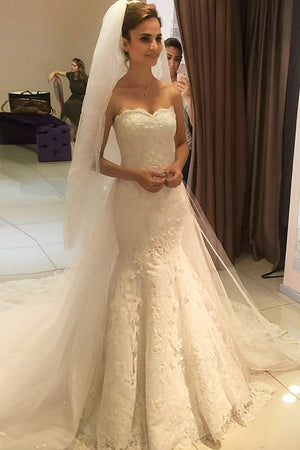 Elegant Lace Appliques Mermaid Sweetheart With Beading Court Train Wedding Dress W409