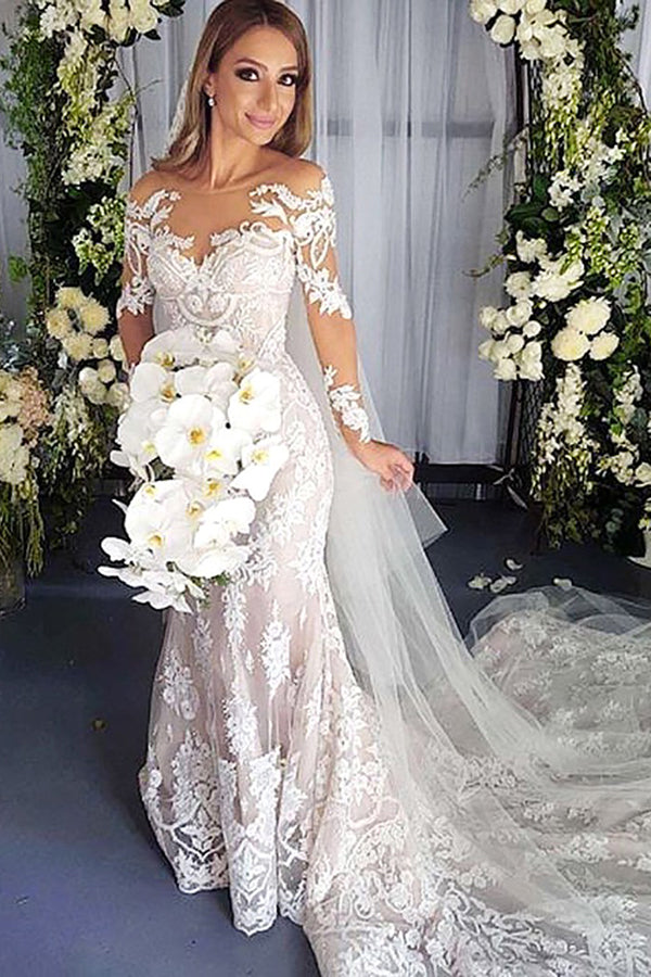 Chic Long Sleeves Open Backless Tulle Mermaid Lace Appliques Wedding Dress W410