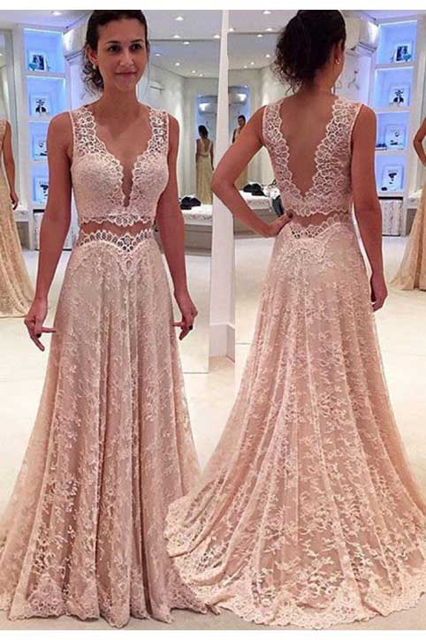 Charming A Line V Neck Two Piece Prom Dress Lace Party Gown D275