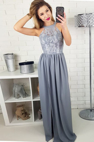 Chic Round Neck With Lace Appliques Floor Length Prom Dresses P635