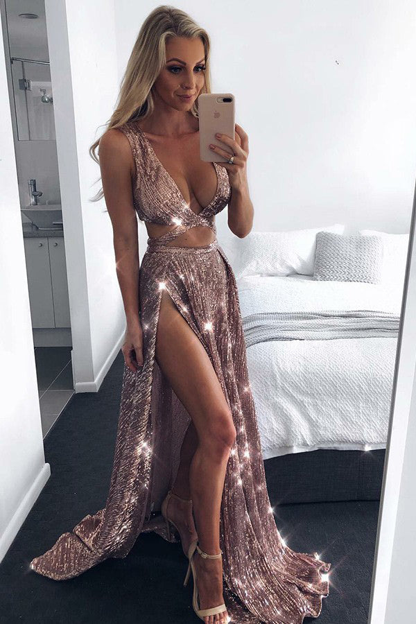 Sparkly Rose Gold Sequins A-Line Sexy Plunge Neckline Slit Prom Dress P583