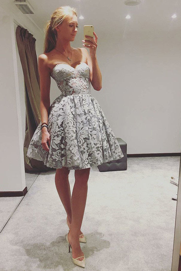 A-Line Sweetheart Grey Lace Short Prom Homecoming Dress M710