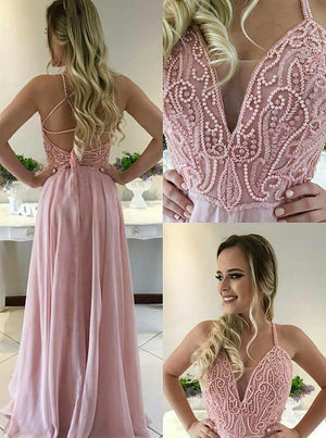 Chic Pink Spaghetti Straps Chiffon With Handmade Beading Prom Dress P718