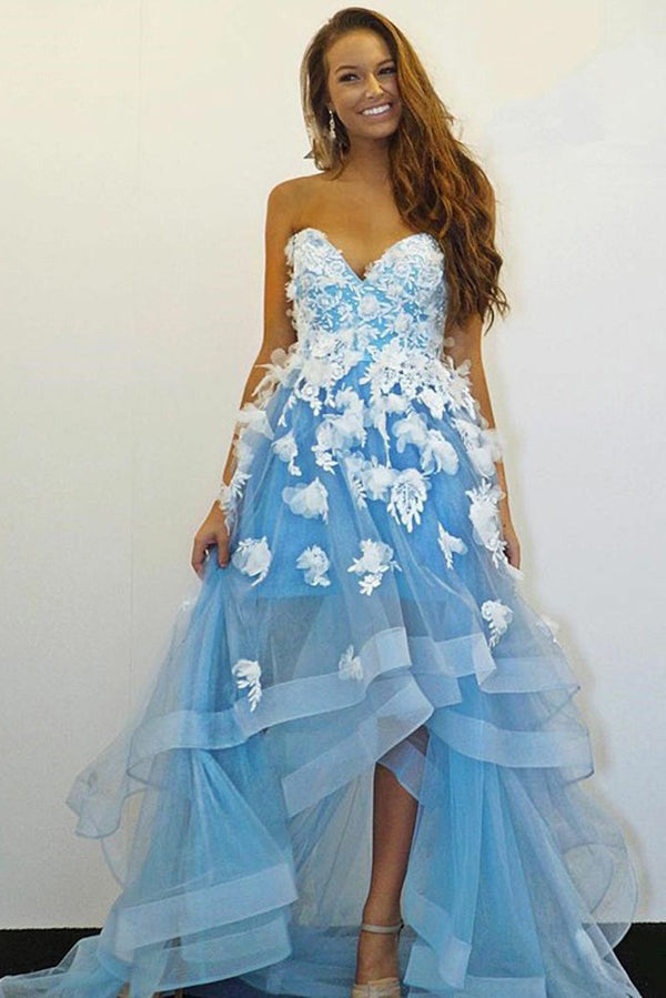 Sweetheart High Low Mermaid Prom Dress with Ruffles D370