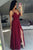 Spaghetti Straps V-neck Chiffon Burgundy Long Prom Dress With Split D459