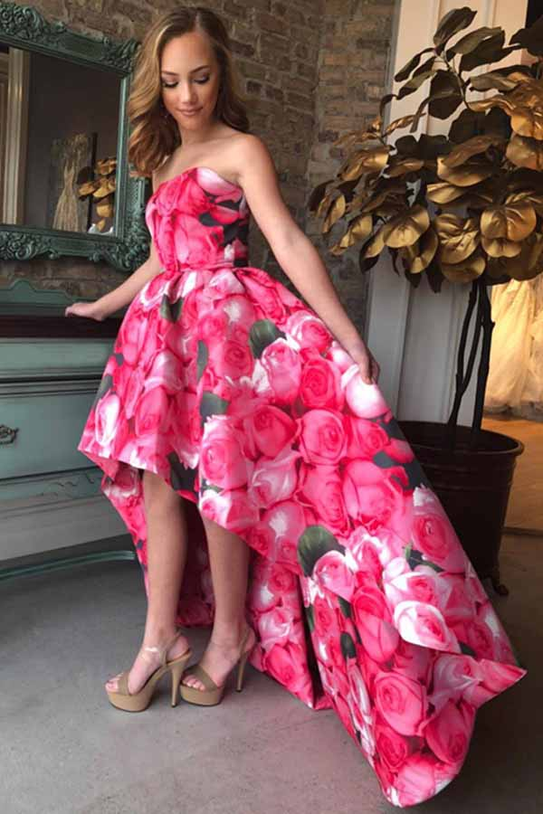 A-Line Strapless Satin Fuchsia Floral Printed High Low Prom Dresses M774