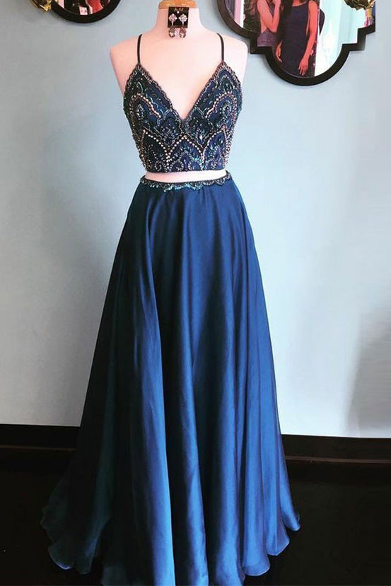 Dark Navy Two Piece Spaghetti Straps Beading Elastic Satin Prom Dress P582 - Ombreprom