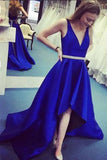 Satin A-Line Deep V-Neck High Low Royal Blue Prom Dress with Belt M775