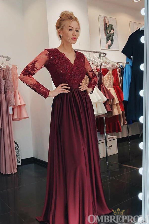 Chic Burgundy Long Sleeves Lace V Neck Prom Dresses D74