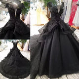 Stunning Cap Sleeves Ball Gown Black Wedding Dress, Long Formal Dress with Beads W826