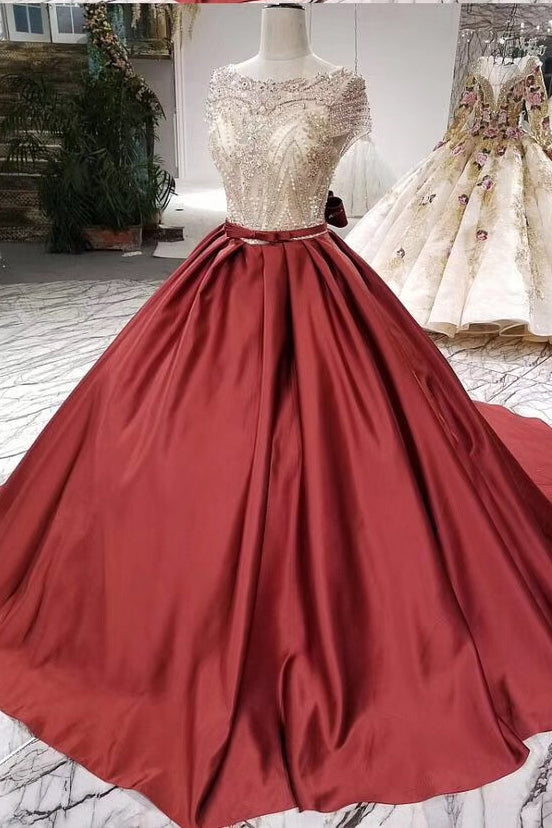 Red Ball Gown Satin Beading Bodice Prom Dress, Quinceanera Dresses with Short Sleeves D404
