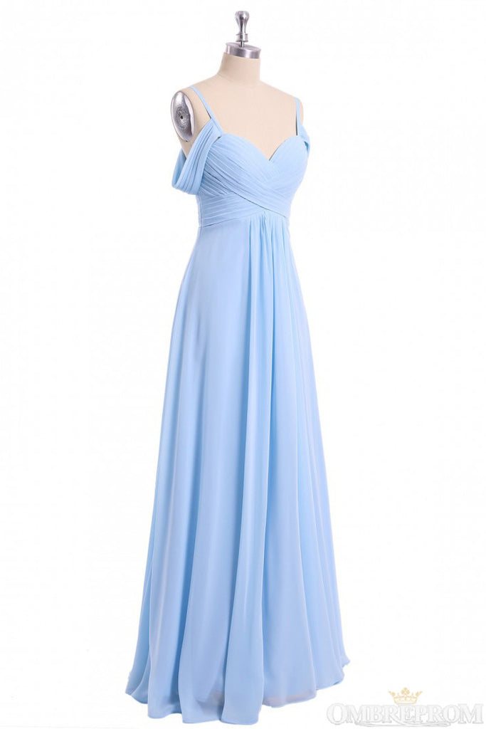A-line Sky Blue Long Bridesmaid Dress, Off Shoulder Chiffon Long Prom Dress D445