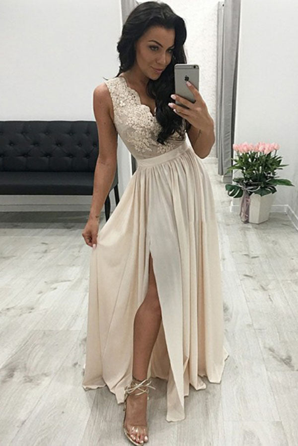 Luxury V Neck Sleeveless Chiffon Appliques With Split Prom Dresses P638