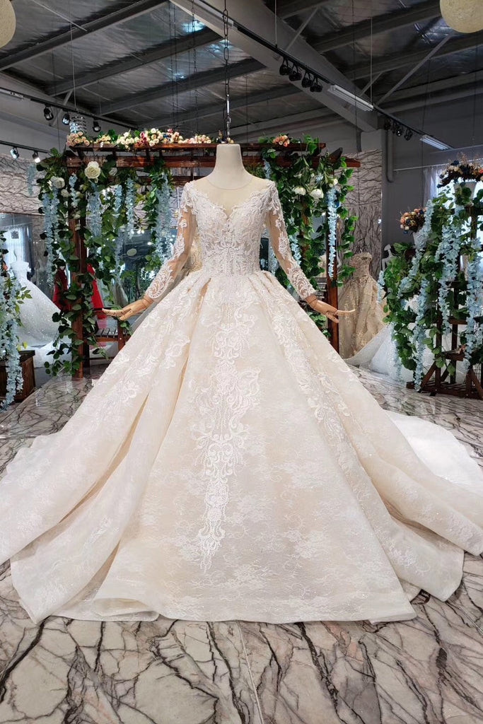 Gorgeous Long Sleeves Ball Gown Wedding Dress With Beading Appliques W825