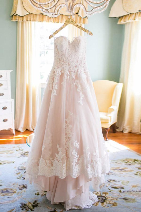 Pink A Line Court Train Sweetheart Sleeveless Mid Back Cheap Wedding Gown,Long Wedding Dress W157 - Ombreprom