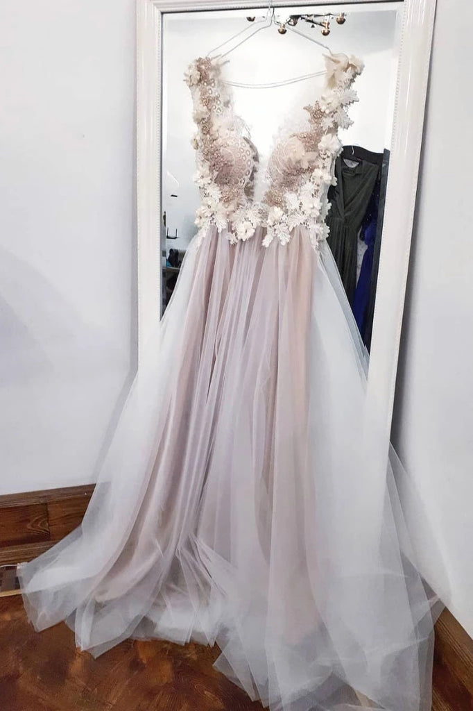 A-line V-neck Long Prom Dress With Appliques Tulle Long Evening Dress D442
