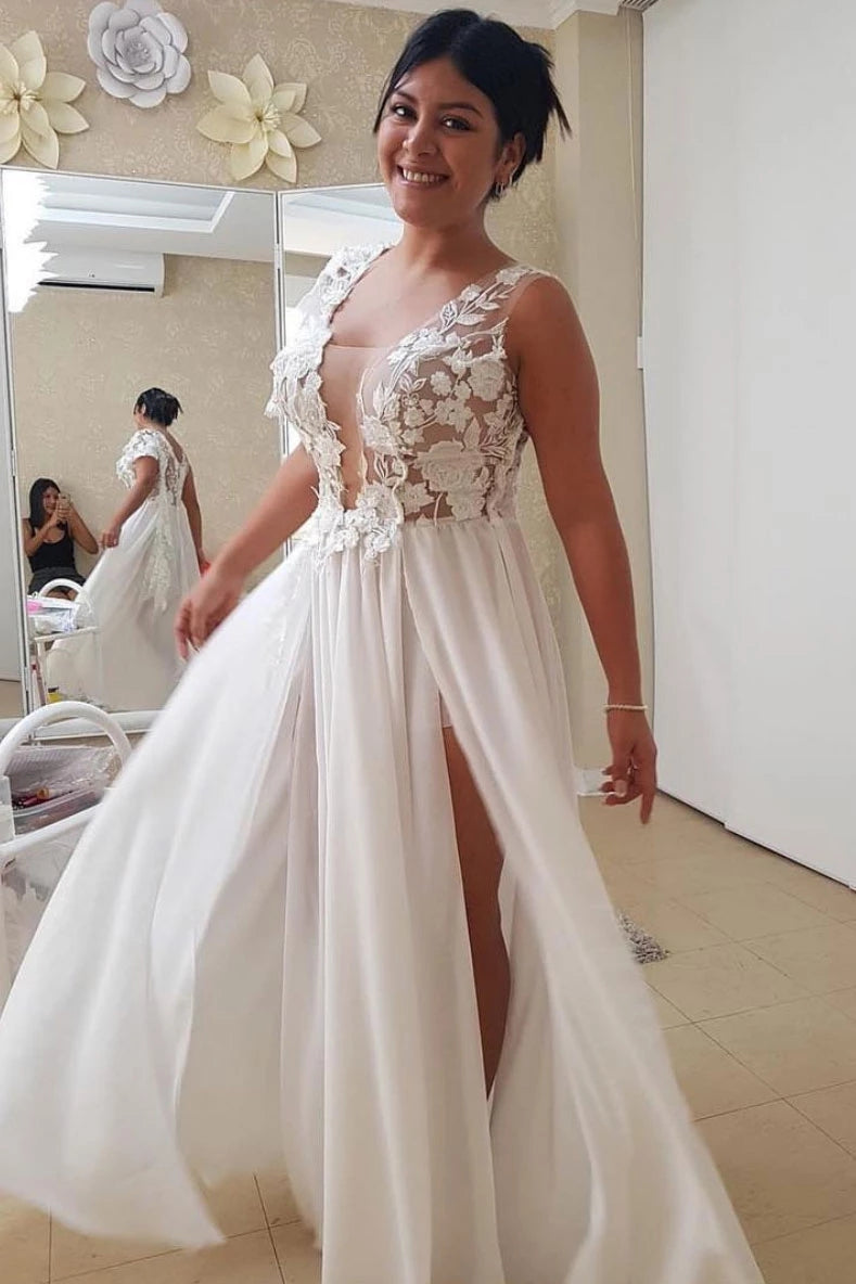 A-line Chiffon Long Prom Dress With Appliques, Beach Wedding Dress With Split D443