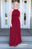 A-line Jewel Burgundy Bridesmaid Dress, Chiffon Long Prom Dress D440